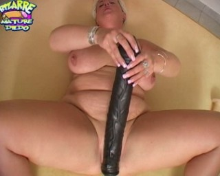 Blonde chubby mature fucking with huge toys